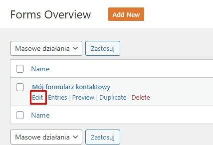 Edycja istniejącego formularza kontaktowego