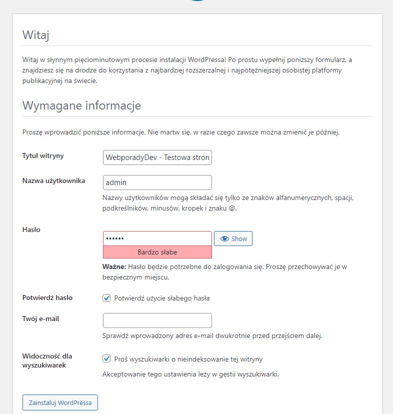 Informacje o stronie w WordPress