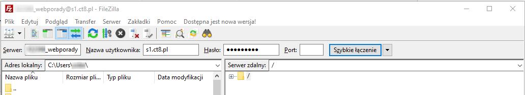 Łączenie się z FTP
