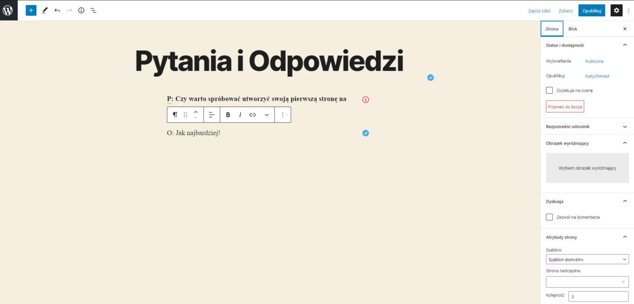 Tworzenie podstrony WordPress