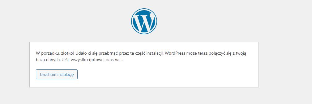 Uruchomienie instalacji WordPress