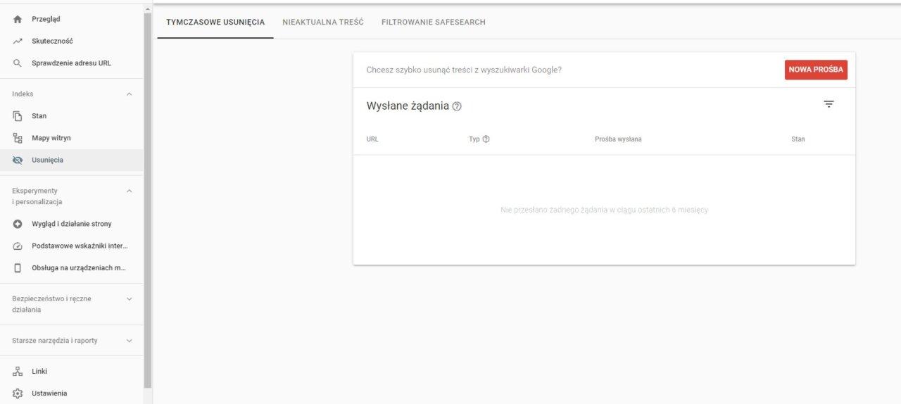 Usuniecia Google Search Console