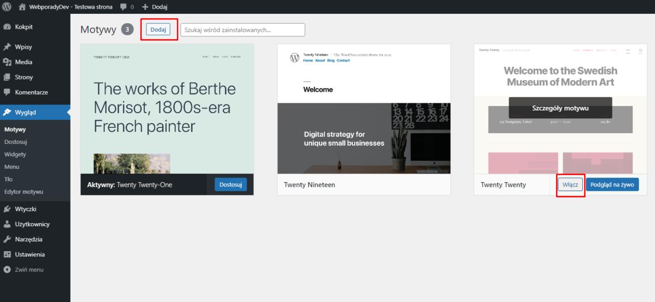 Włączanie szablonu w WordPress