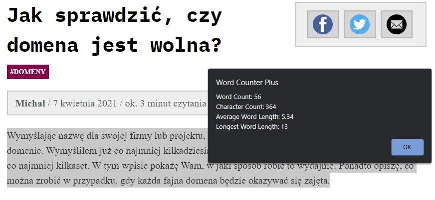 Word Counter Plus - wtyczka do zliczania słów w tekście