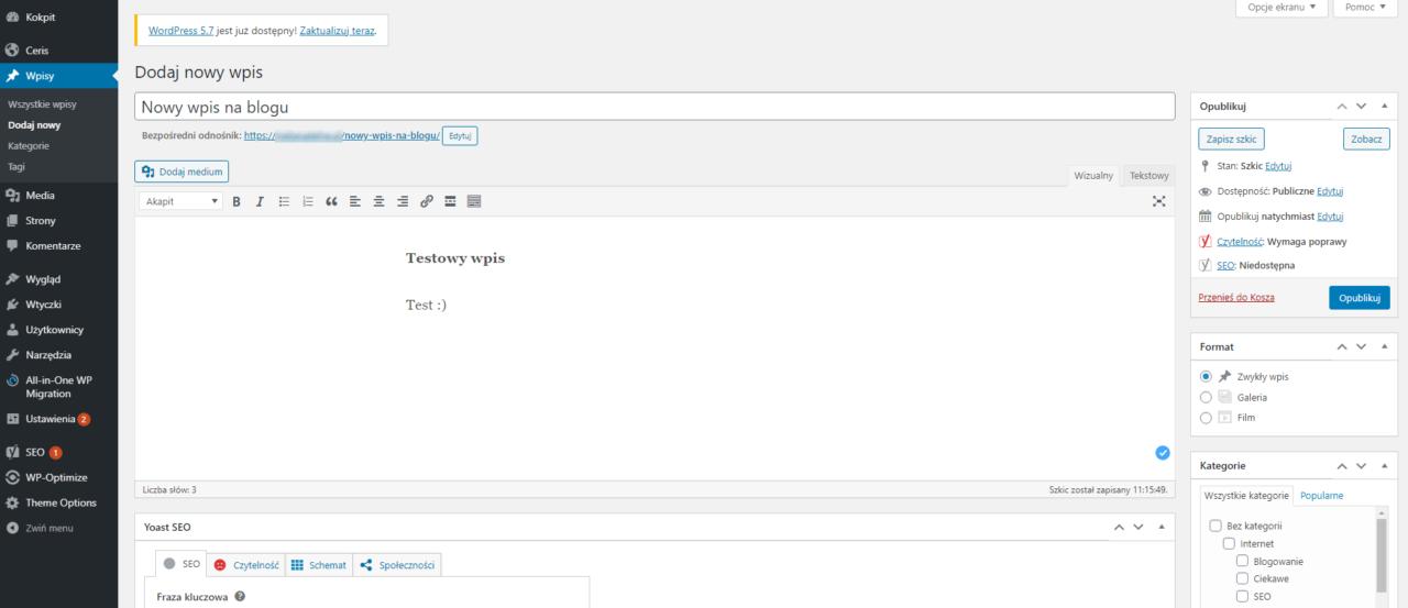 Wygląd panelu dodawania wpisu na Bloga w WordPress