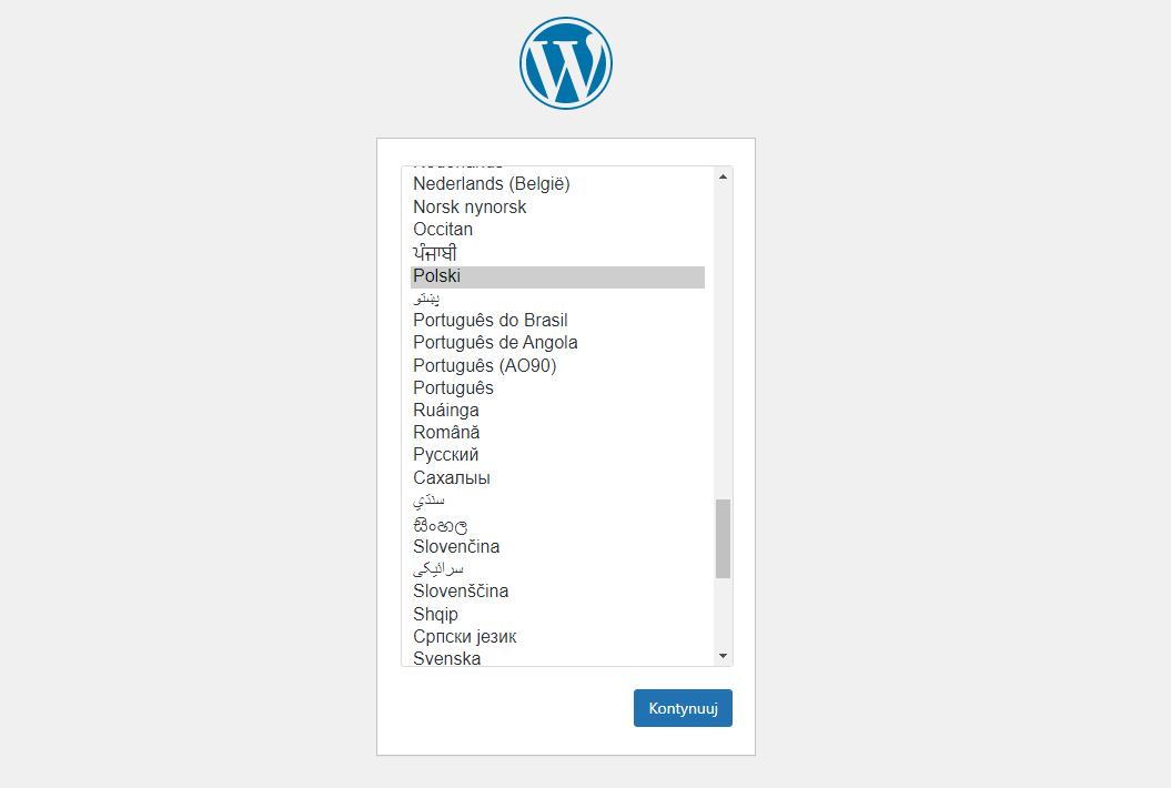 Wybór języka w WordPress