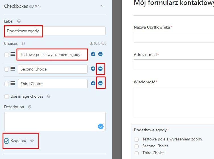 zgody w formularzu WordPress